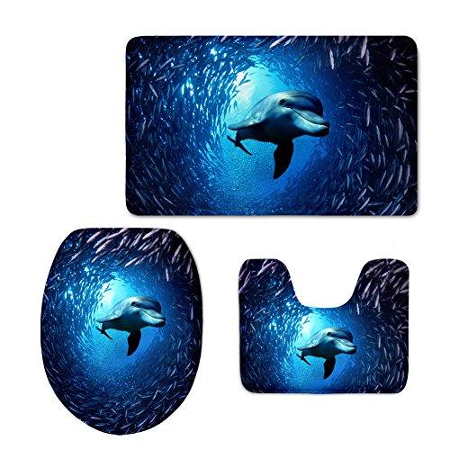 3 Piece Shi Set (Nopersonality Blue Zoo Dolphin Bath Mat Sets 3 Piece Contour Mat Toilet Bathroom)