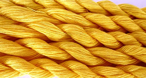 Four Pack Maize Yellow Thin Lace Weight 100% Cotton Yarn