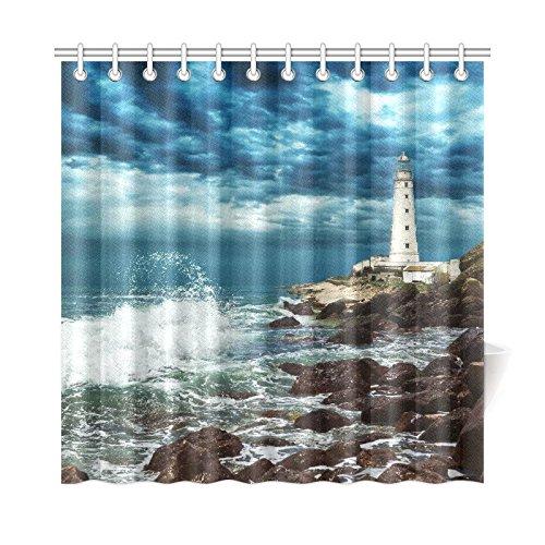 InterestPrint-Stormy-Beach-Lighthouse-Custom-Shower-Curtain-72-X-72-Inches-Polyester-Fabric-Bathroom-Sets-Home-Decor