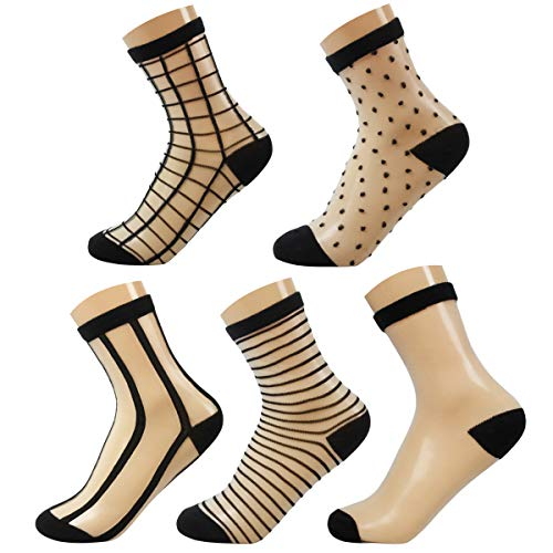 NORMOV Women's Transparent Casual Socks-5Packs Sheer Sock,Ankle Sock (5Pack Black 3, One Size) ()