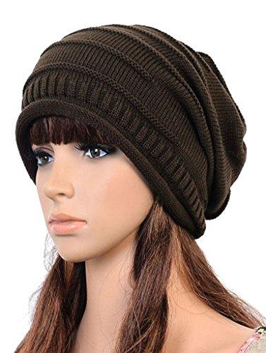 AutumnFall Women's Winter Beanie Knit Crochet Ski Hat Oversized Cap, Coffee1