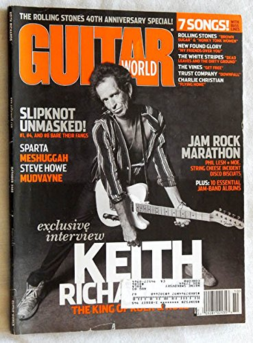 Guitar World Magazine October 2002 Issue - Graded VERY GOOD 9.4 BY THE SELLER -Keith Richards - Slipknot - Jam Bands - POSTER Not Included