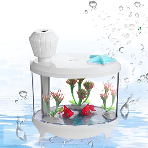 Fish Tank Air Humidifier White - Azmall Essential Oil Diffuser USB Humidifier Filter, 460ML Mist Humidifier with 7 Changing Color LED Lights and Timer for Home,Office,Bedroom,Living Room