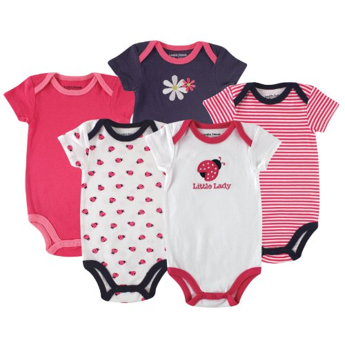 Luvable Friends Cotton Bodysuit, Cotton Bodysuit, 5 Pack, Ladybug, 9-12 Months