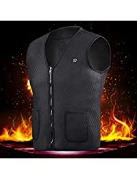 KOBWA USB Charging Electric Heated Vest, Unisex Winter Warm Three-Gear Temperature Control Lightweight Heated Clothing, Washable Heating Jacket Body Warmer for Men Women Outdoor Riding Fishing Camping