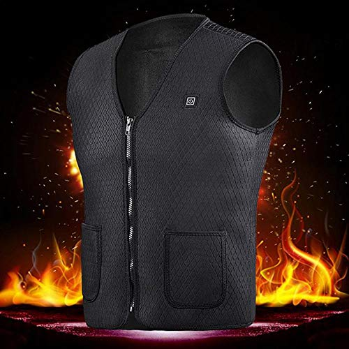 KOBWA - Chaleco calefactable con carga USB, unisex, para invierno, cálido, control de temperatura, ligero, con calor,...