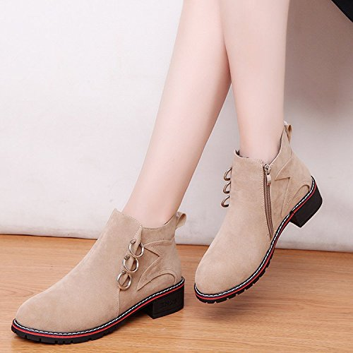 Short Winter And Singles And Boots Europe States Martin The With Thick Women'S With Thirty KPHY Autumn Low Tide Scrub United Boots Boots Metal seven Ring E65WWAq1