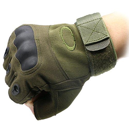 ArunnersTM Mountain Bike Motorcycle Gloves Men Women Tactical Gloves Hard Knuckle Military Fingerless Half Finger Airsoft Paintball Outdoor Gloves Green