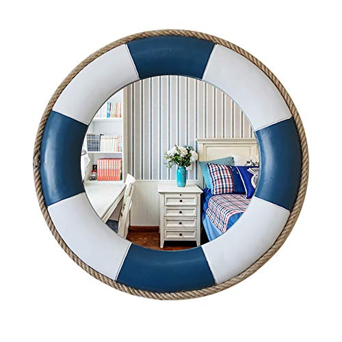 YHMT 52cm Round Wall Mirrors, Blue/White Nautical/Lifebuoy Resin Frame Vanity Mirror, Children's -