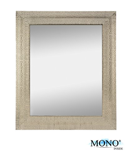 MONOINSIDE Framed Silver Decorative Wall Mounted Mirror, Metal Covered Frame with Raised Modern Designer Texture...