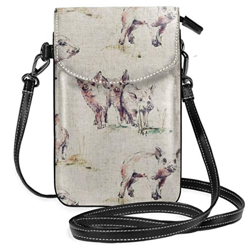 Small Cell Phone Purse For Women Leather Beautiful Pig Painting Insides Card Slots Crossbody Bags Wallet Shoulder Bag