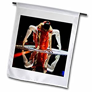 Kike Calvo Dance - Ballerina dressed up with a Spanish style orange dress, performing on a silver surface - 18 x 27 inch Garden Flag (fl_9994_2)