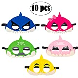 Cadeya Baby Little Shark Masks Set/ Shark Masks Kids Shark Felt Masks Half Masks for Boys Girls Birthday Party Favors - 10 Counts