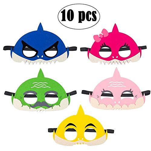 Cadeya Baby Little Shark Masks Set/Shark Family Masks Half Masks Doo Doo Shark Cosplay Party Favors Kids Costumes Mask for Boys Girls Birthday Party - 10 Counts ()