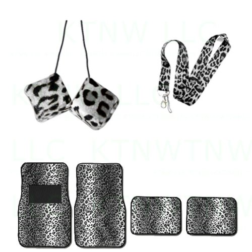 A Set of 6 Piece Animal Print Front and Back Floor Mats, Hanging Dice and Lanyard Key Chain - Snow Leopard - Snow (Dice Print)