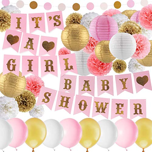 Warm Home Store Pink and Gold Baby Shower Decorations,It's a Girl Pennant Banner,balloon,Pom Poms Flowers,Paper lantern,Paper Garland,Tassels for Baby Girl Shower Decorations