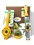 Prepworks Progressive Citrus Juicer, Manual Press Lemon Lime Squeezer, Zester and Cheese Stainless Steel Micro-plane Grater and Citrus Keeper Plus International Lemonade Recipes 3-Pack Set