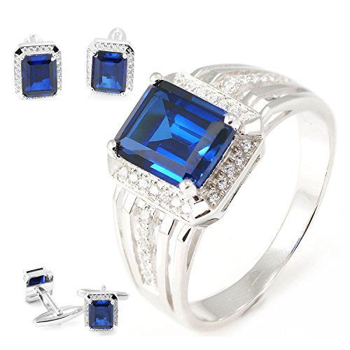 Jewelrypalace Blue Sapphire Sets Engagement Ring Cufflinks For Men 925 Sterling Sliver Size 8 (Sapphire Cufflinks Set)