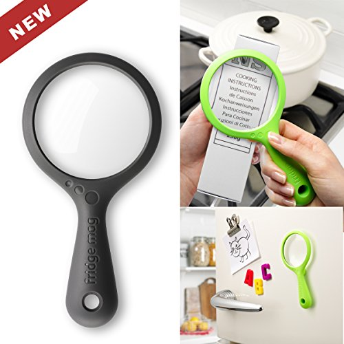 Magnetic Magnifying Glass 2x - 4x Magnification Lens, Strong Magnets Stick To Refrigerator, Magnifier Magnify Cooking Packaging & Medical Instructions - Home Eyeglasses On Try