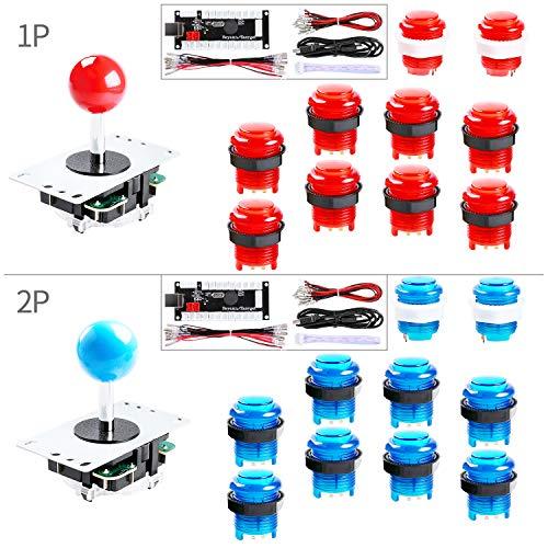 Hikig 2-Player LED Arcade DIY Kit for USB MAME PC Game DIY & Raspberry Pi Retro Controller DIY Including 2X Arcade Joystick, 20x LED Arcade Buttons, 2X Zero Delay USB Encoder Color: Red + Blue (Mame Pc)