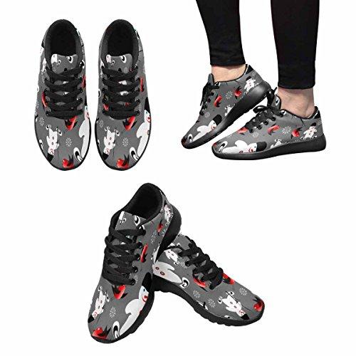 Interestprint Femmes Jogging Running Sneaker Léger Aller Facile Marche Confort Sport Chaussures De Course Noël Bonhomme De Neige Multi 1