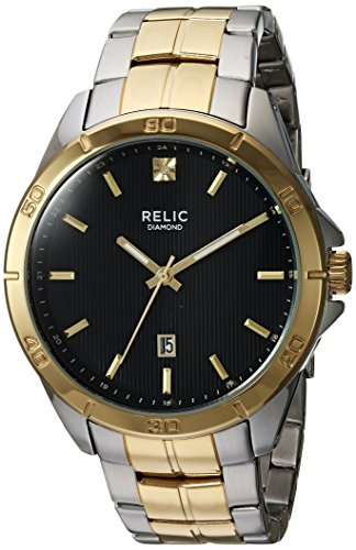 Mens Diamond Accent Watch - Relic Men's Chase Quartz Two-Tone Stainless Steel and Diamond Accent Watch, Color: Silver and Gold-Tone (Model: ZR12558)