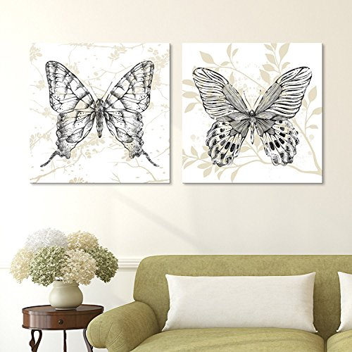wall26-2 Panel Square Canvas Wall Art - Butterflies on Floral Background - Giclee Print Gallery Wrap Modern Home Decor Ready to Hang - 24