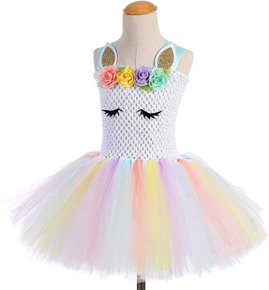 Amosfun Vestido de Disfraz de tutú con Flores de Unicornio Arco ...