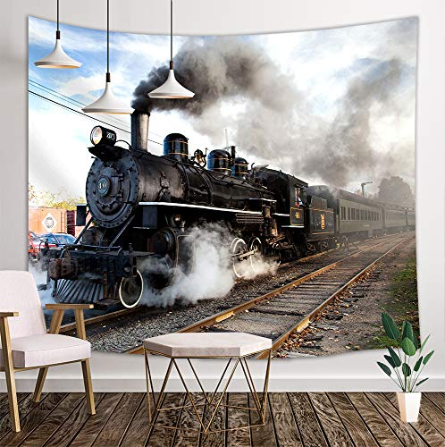NYMB Steam Engine Tapestry Wall Hanging, Train on Railroad Track, Panels Bedroom Living Room Dorm, 71 X 60 Polyester Mandala Hippie Boho Style Blankets Home Art Decor]()