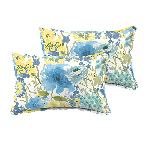 Mozaic AMPS115747 Flange Yellow Floral Indoor/Outdoor Lumbar Pillows (Set of 2), 12'' x 18'', Blue by Mozaic
