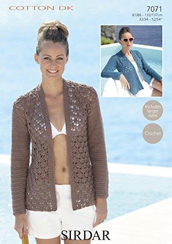 en pies imágenes de patrones de moda 2020 Sirdar chaqueta de mujer patrón de Crochet de algodón 7071 ...