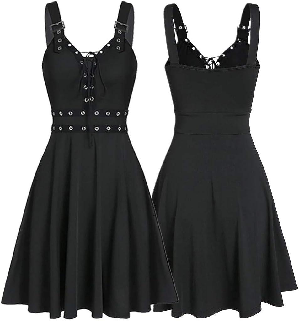 Portazai Womens Fashion Dresses Sleeveless Gothic Punk Bandage Irregular Hem Mini Dress Casual Beach Party Tank Dress