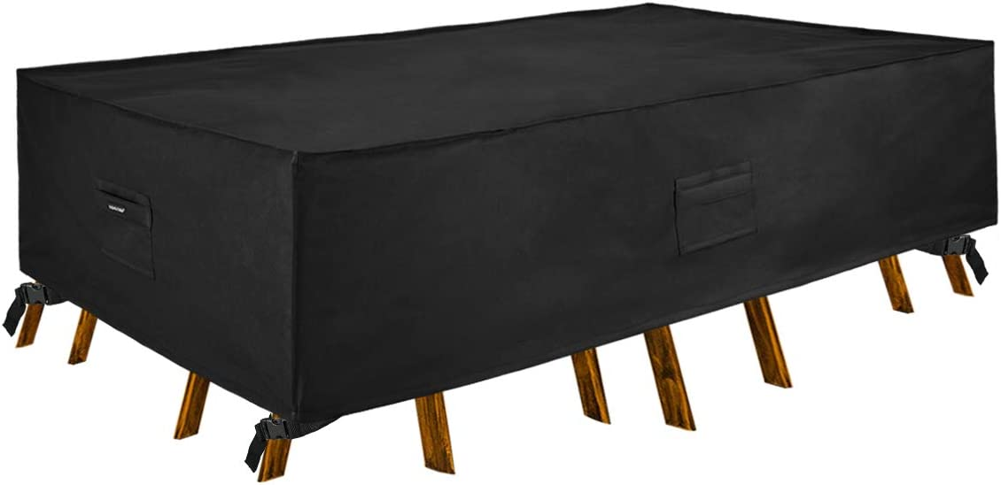 Patio Watcher 88 inches Patio Furniture Cover Durable Water Resistant Outdoor Rectangle/Oval Table & Chair Set Cover with Secure Buckle Straps, Black