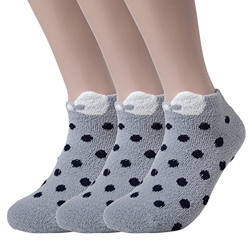 Womens Winter Soft Warm Thermal Fuzzy Socks Bed Sleeping Sock DOT (3P, Grey)