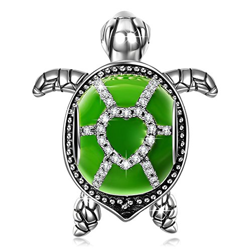 NINAQUEEN Tortoise 925 Sterling Silver Green Enamel Happy Family Animal Bead Charms for Pandöra Bracelets Necklaces Birthday Anniversary for Women Wife Girlfriend Niece Teen Girls Kid