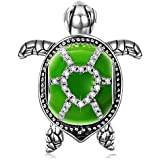 NinaQueen Tortoise 925 Sterling Silver Green Enamel Happy Family Animal Bead Charms for Pandöra Bracelets Necklaces Birthday Anniversary Christmas Gifts for Women Wife Girlfriend Niece Teen Girls Kid