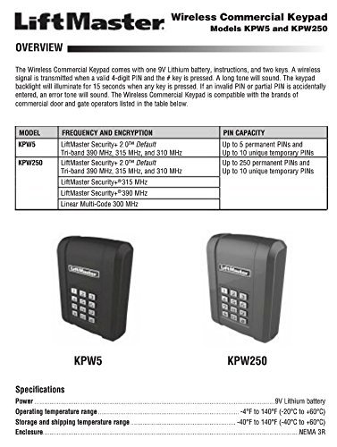 LiftMaster KPW5 Wireless 5 Code Commercial Keypad