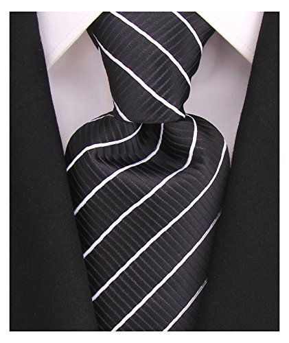 (Striped Ties for Men - Woven Necktie - Black w/White)