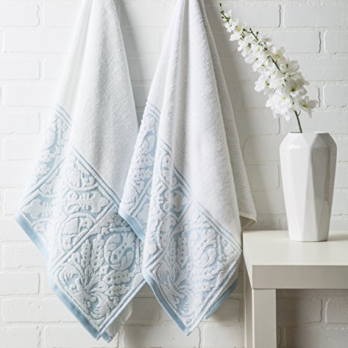 Luxor Linens – 100% Cotton 3 PC Absorbent Jacquard Towel Set, Hotel Luxury- 1 Bath Towel, 1 Hand Towel, 1 Wash Cloth – White/Aquamarine