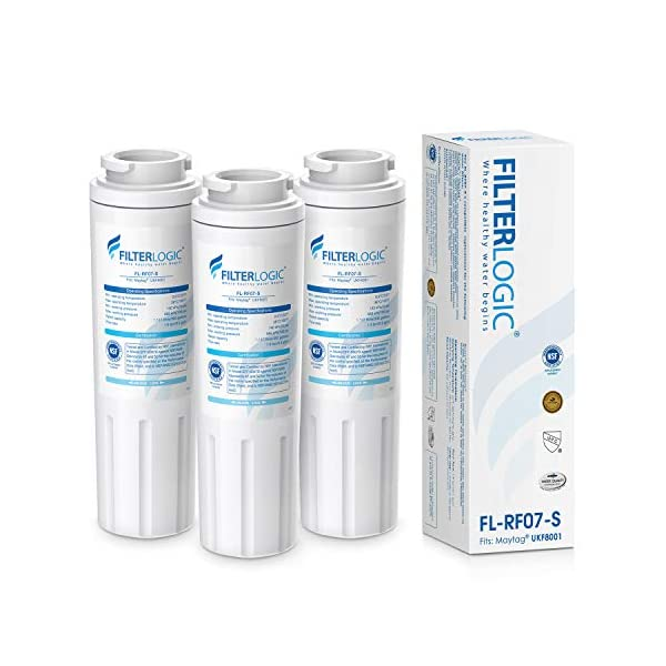 Filterlogic UKF8001 Water Filter, Replacement for Maytag UKF8001P, UKF8001AXX, Whirlpool 4396395, 469006, EDR4RXD1, EveryDrop Filter 4, Puriclean II, NSF 53&42 Certified, package may vary(Pack of 3)