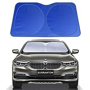 "BURRANTON Trapezoid Car Windshield Sunshade - Blocks UV Rays Sun Visor Protector, Jumbo Sunshade To Keep Your Vehicle Cool And Damage Free(Small/59"" x 31.5"")"