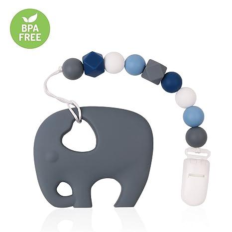 TYRY.HU Dentición Clip de silicona Mordedor de gato con chupete Clip Set para bebés recién nacidos BPA Ducha libre de regalo Shoothing Pain Relief ...