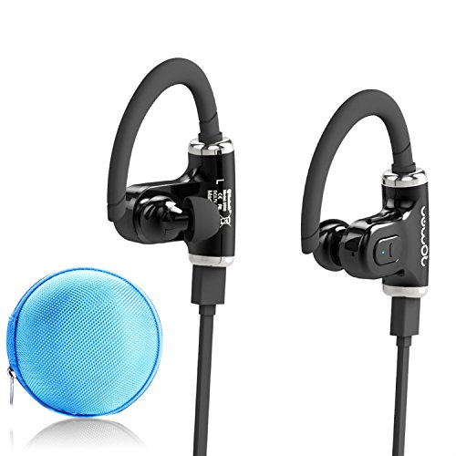 first2savvv LMEJB03 Roman Luxury Lightweight Wireless Bluetooth 4.0 Headsets with Microphone Bundle with  Earphone Case - Black