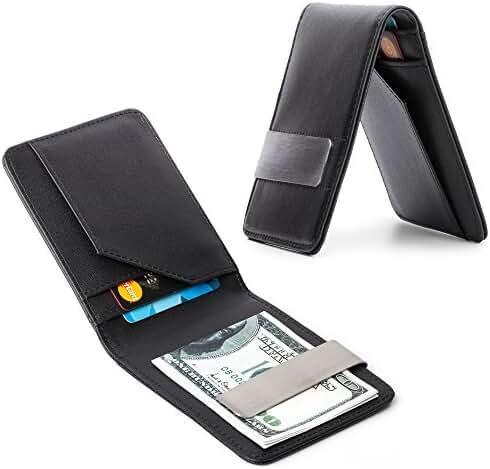 Urbamade Men's Slim Bifold Leather Wallet Money Clip Credit Card Holder