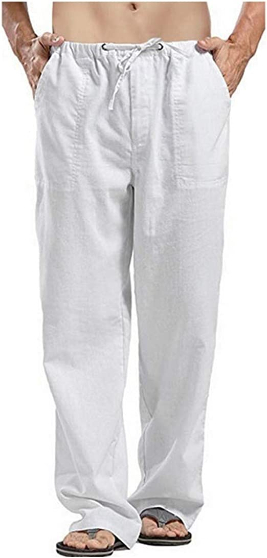 Nicellyer Men's Mid Rise Cotton Linen Plus Size Straight Pants with Pockets