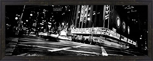 (Radio City Music Hall, Rockefeller Center, Manhattan, NY by Panoramic Images Framed Art Print Wall Picture, Espresso Brown Frame, 38 x 16 inches )