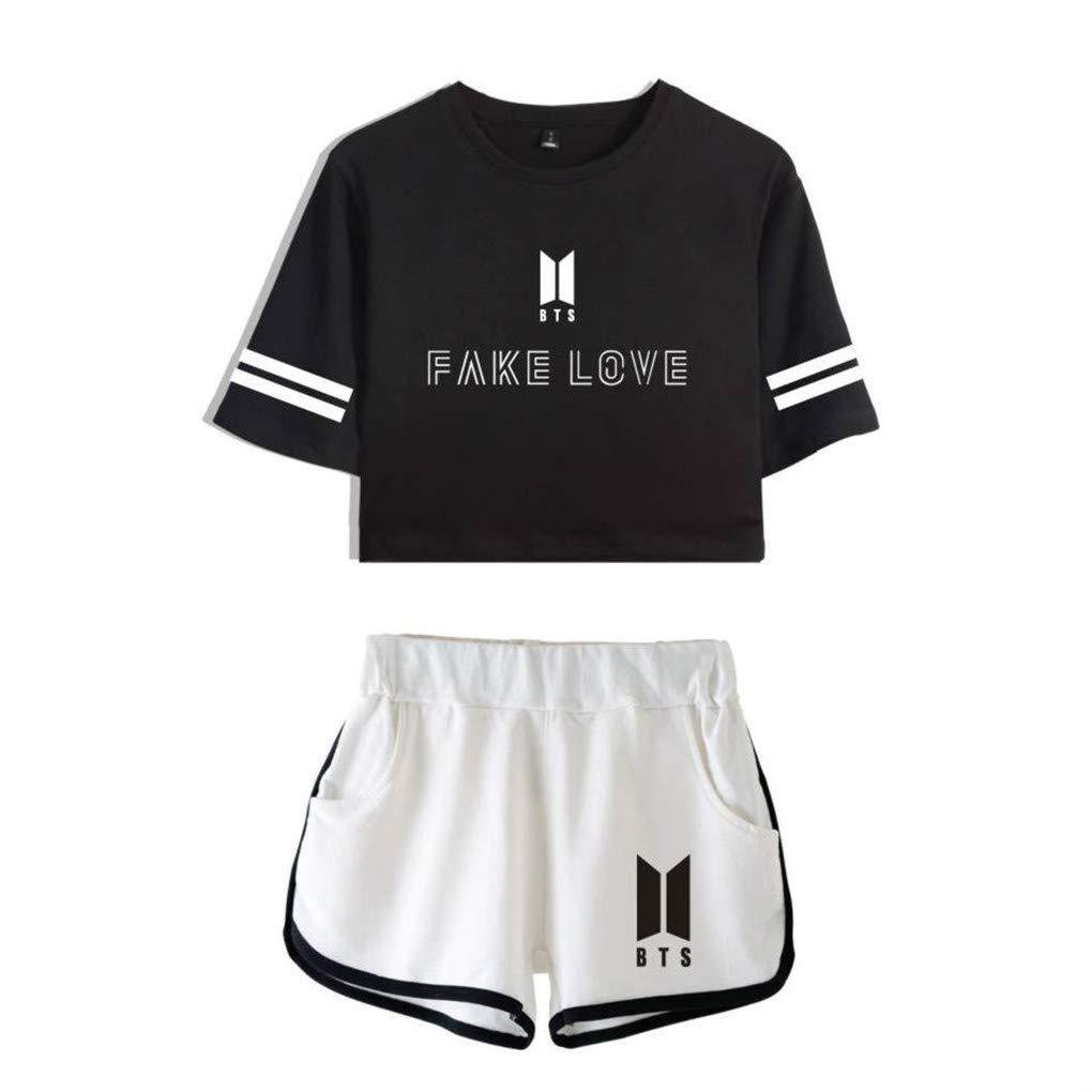 Memoryee BTS Album Fake Love Drucken Crop Top T-Shirts und Kurze Hose Kleidung Zweiteiler f/ür M/ädchen und Frauen Sportbekleidung
