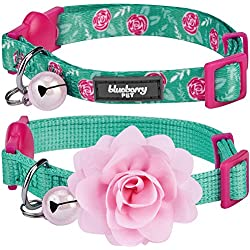 """Blueberry Pet Spring Pack of 2 Cat Collars, The Power of All in One Relaxing Jungle Green Adjustable Breakaway Cat Collar for Girl & Boy with Bell & Detachable Flower, Neck 9""""-13"""""""