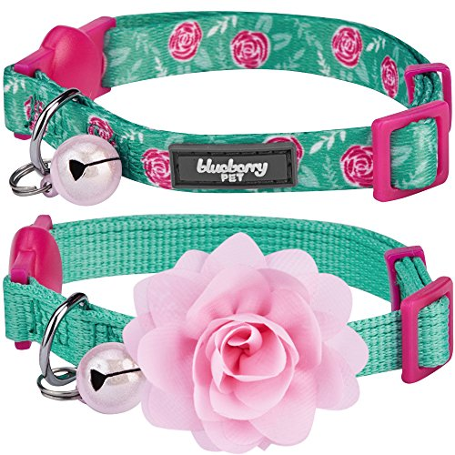 "Blueberry Pet Easter Spring Pack of 2 Cat Collars, The Power of All in One Relaxing Jungle Green Adjustable Breakaway Cat Collar for Girl & Boy with Bell & Detachable Flower, Neck 9""-13"""