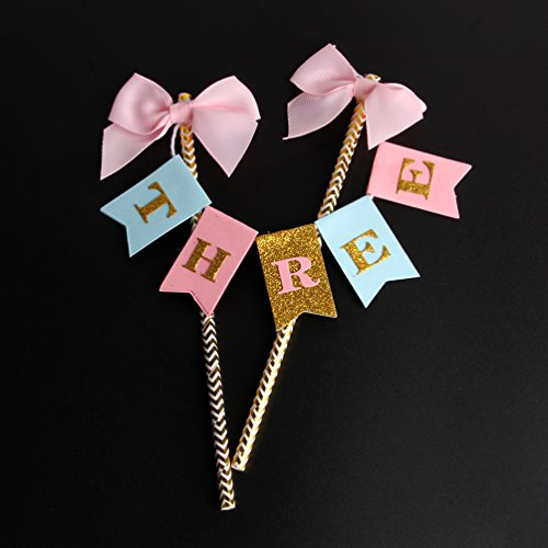(INNORU Handmade Happy 3rd Birthday Cake Topper - Three Birthday Gold Glitter Letters Cake Bunting)